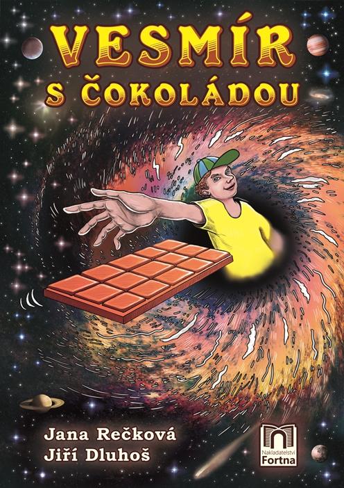 chlapec se z červí díry natahuje po čokoládě ve vesmíru